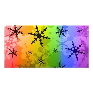 Rainbow Snowflake Photo Card