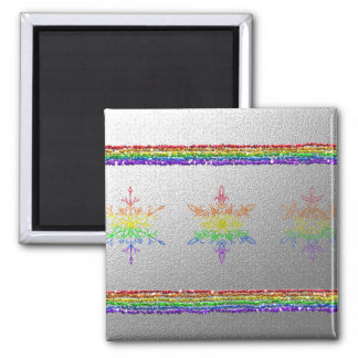 Rainbow Snowflakes 2 Inch Square Magnet