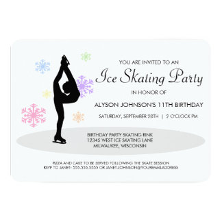 Rainbow Snowflakes Ice Skating Party Invitation
