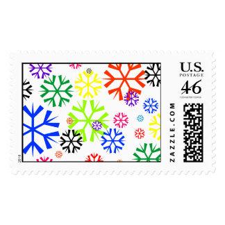 Rainbow Snowflakes Postage Stamps