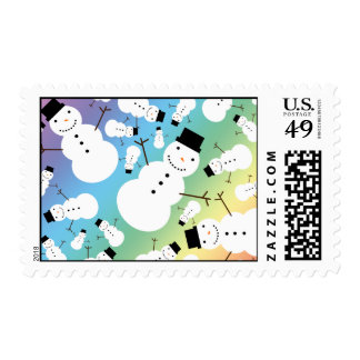 Rainbow snowmen postage stamps