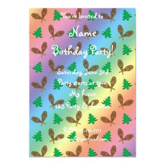 Rainbow snowshoe pattern 5x7 paper invitation card