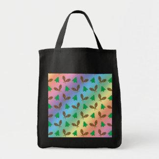 Rainbow snowshoe pattern canvas bags