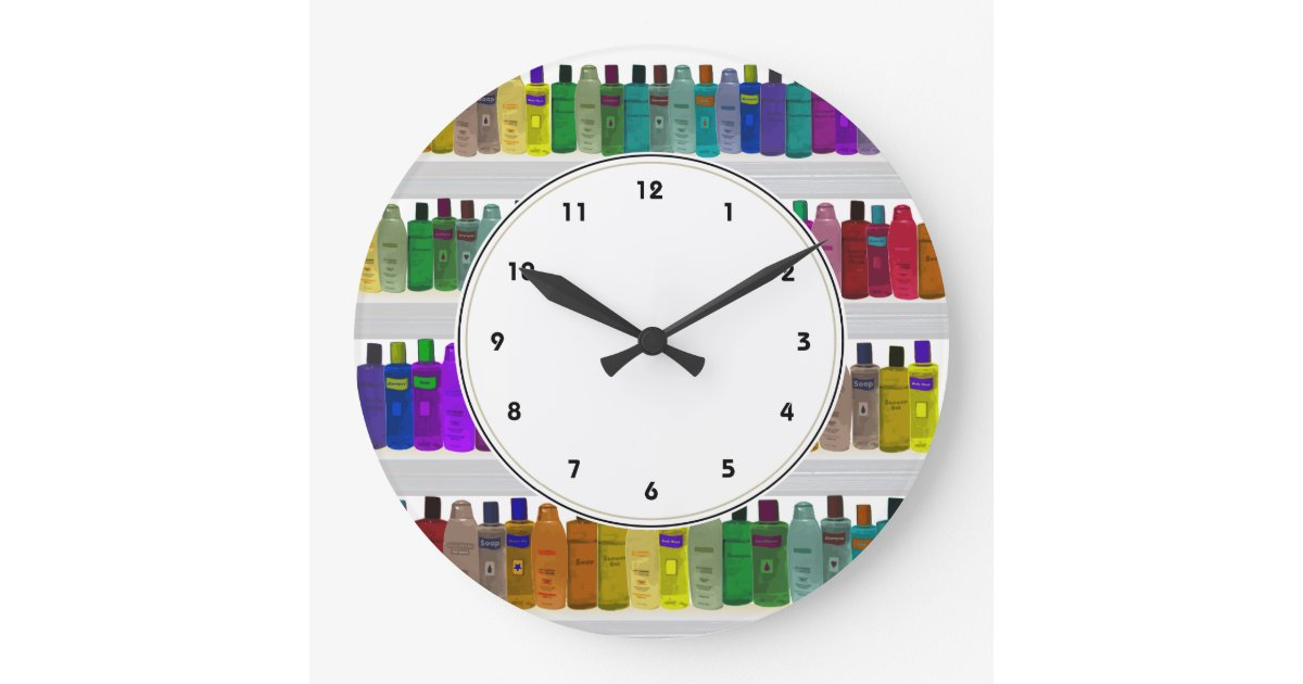 Rainbow Soap Bottles Colorful bathroom clock. Bathroom Wall Clocks   Zazzle