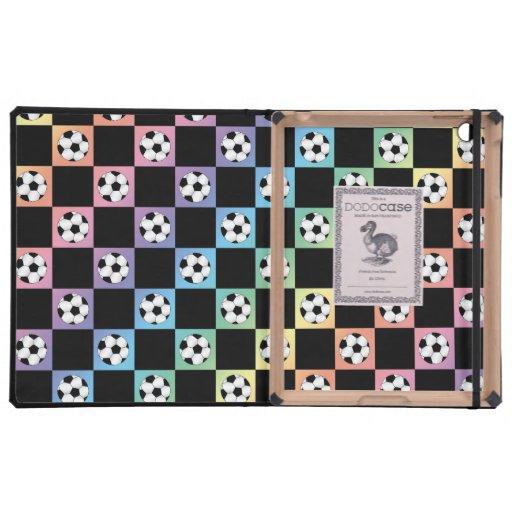 Rainbow soccer ball checkers iPad case