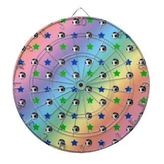 rainbow soccer balls and stars dart boards