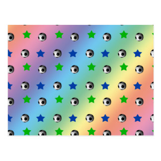 rainbow soccer balls and stars postcards