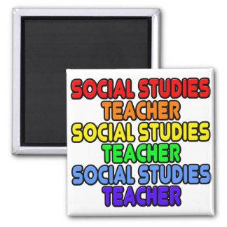 Rainbow Social Studies Teacher 2 Inch Square Magnet