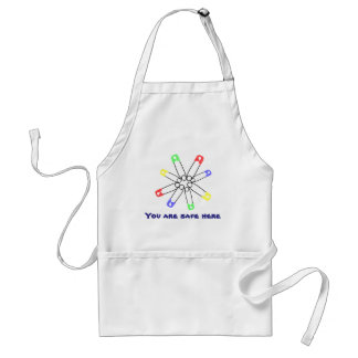 Rainbow Solidarity Safety Pin Yellow Blue Green Adult Apron