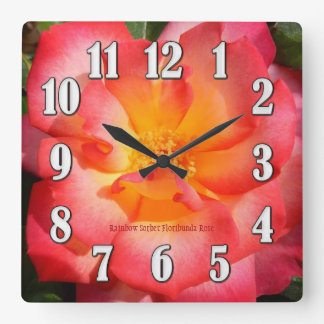 Rainbow Sorbet Rose Large Numbers Wall Clock