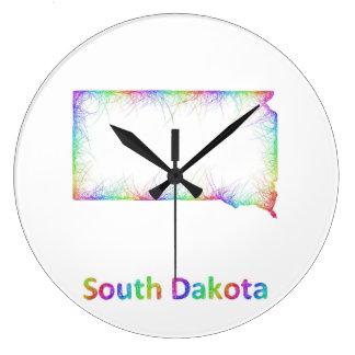 Rainbow South Dakota map Large Clock