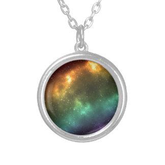 Rainbow Space Galaxy Print Round Pendant Necklace