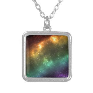 Rainbow Space Galaxy Print Square Pendant Necklace