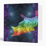 Rainbow Space Kitty Cat Floating in the Galaxy Binder