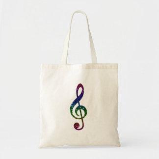 Rainbow Sparkle Treble Clef Art Tote Bag