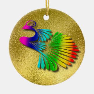 Rainbow Sparkling Peacock With Shadows Ceramic Ornament