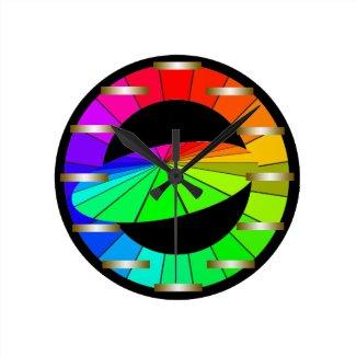 Rainbow Spectrum Bold Designer Color Wheels Round Clock