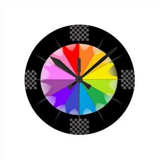 Rainbow Spectrum Colorwheel Pop Art CricketDiane Round Clock