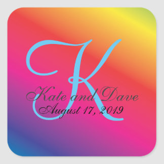 Rainbow Spectrum Custom Monogram Wedding Square Sticker