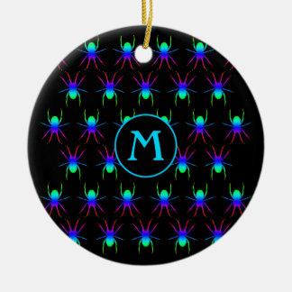 Rainbow spiders monogram on black ceramic ornament