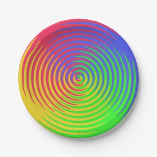 Rainbow Spiral 7 Inch Paper Plate