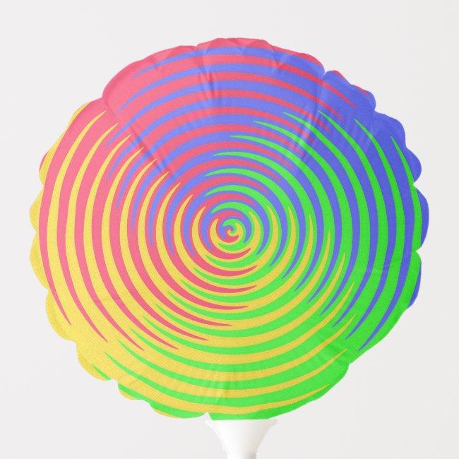 Rainbow Spiral Abstract Pattern Balloon