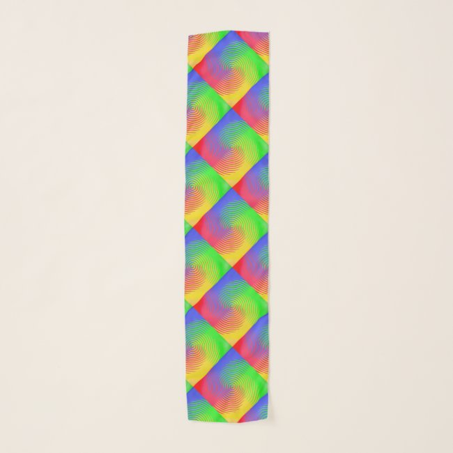 Rainbow Spiral Abstract Pattern Chiffon Scarf
