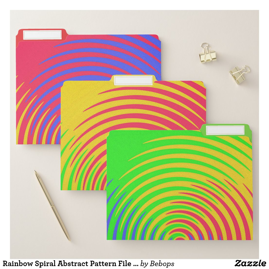 Rainbow Spiral Abstract Pattern File Folder Set