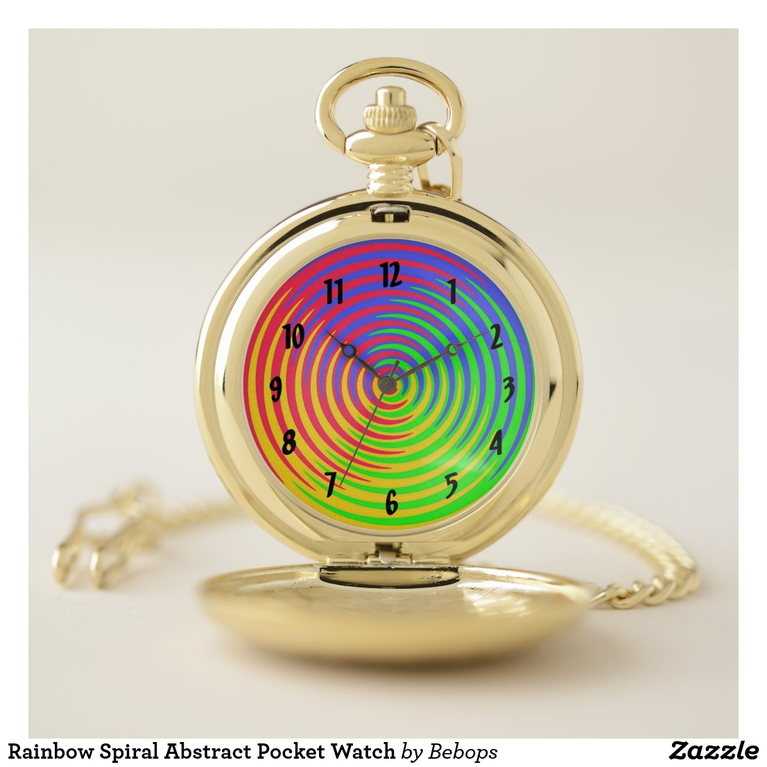 Rainbow Spiral Abstract Pocket Watch