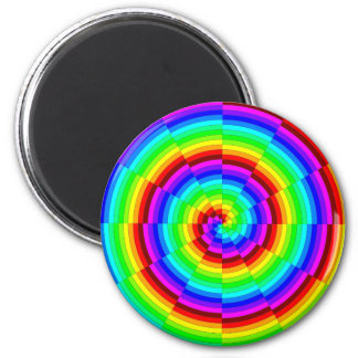 Rainbow Spiral by Kenneth Yoncich 2 Inch Round Magnet