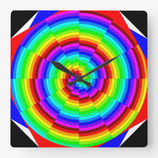 Rainbow Spiral by Kenneth Yoncich Square Wall Clock