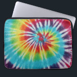 "Rainbow Spiral Computer Sleeve<br><div class=""desc"">Photo of fabric dyed a bright,  colorful rainbow spiral tie dye pattern.</div>"