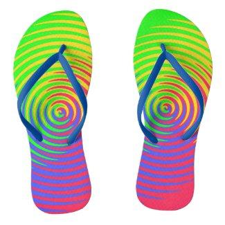 Rainbow Spiral Flip Flops