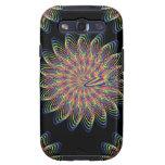 Rainbow Spiral Flower Design - Black Background Samsung Galaxy S3 Covers