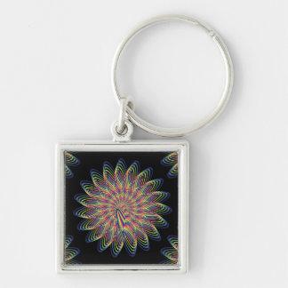 Rainbow Spiral Flower Design - Black Background Keychain