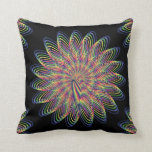 Rainbow Spiral Flower Design - Black Background Throw Pillow