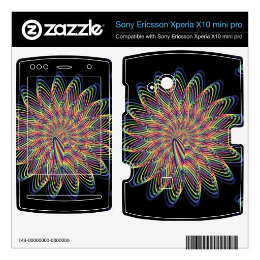 Rainbow Spiral Flower Design - Black Background Xperia X10 Skins