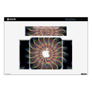 Rainbow Spiral Flower Design - Black Background Mac Mini Decal