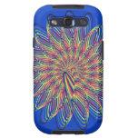 Rainbow Spiral Flower Design - Blue Background Galaxy SIII Cover
