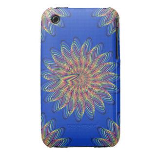 Rainbow Spiral Flower Design - Blue Background Case-Mate iPhone 3 Cases