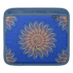 Rainbow Spiral Flower Design - Blue Background iPad Sleeves