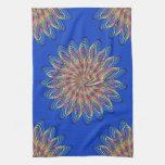 Rainbow Spiral Flower Design - Blue Background Kitchen Towels