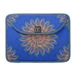 Rainbow Spiral Flower Design - Blue Background MacBook Pro Sleeve