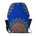 Rainbow Spiral Flower Design - Blue Background Messenger Bags