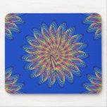 Rainbow Spiral Flower Design - Blue Background Mouse Pad