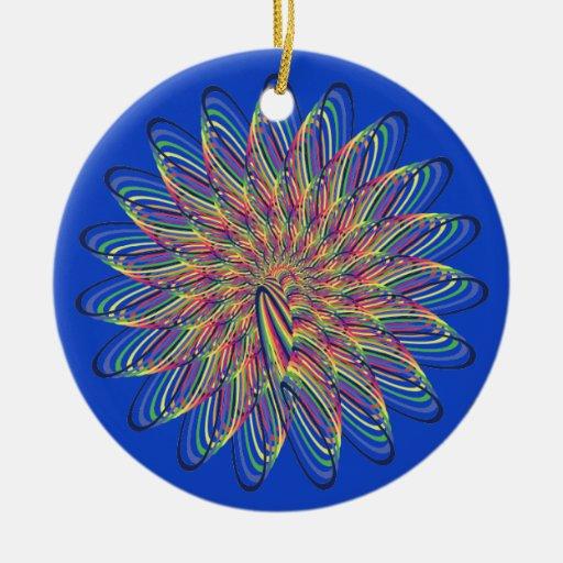 Rainbow Spiral Flower Design - Blue Background Christmas Ornaments