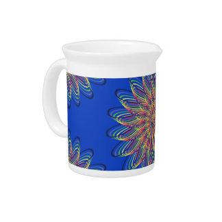Rainbow Spiral Flower Design - Blue Background Drink Pitchers