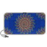 Rainbow Spiral Flower Design - Blue Background Laptop Speaker