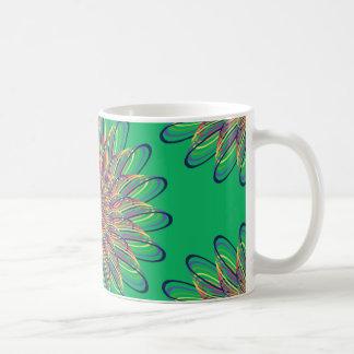 Rainbow Spiral Flower Design - Green Background Coffee Mug