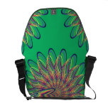 Rainbow Spiral Flower Design - Green Background Courier Bags